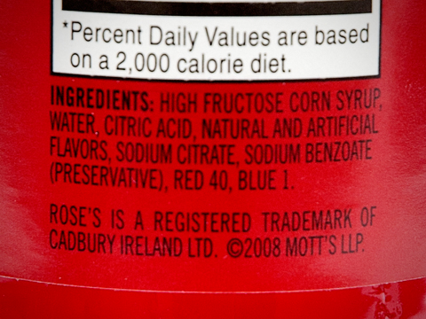 "Ingredients listed on Rose's ""grenadine"""